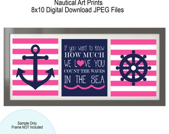 Nautical Nursery - Hot Pink and Navy Nautical Decor - Anchor - Count the waves in the sea Girl Nursery