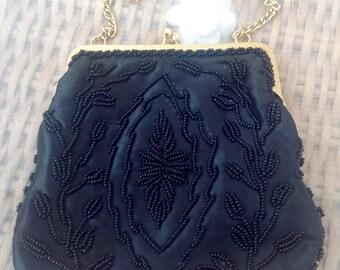 1960's Black Beaded Evening Bag