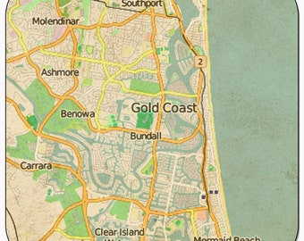Gold Coast 1 Vintage Map Coasters
