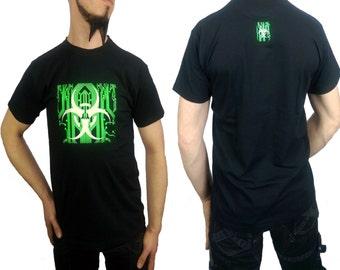 Cyber Goth Bio Circuit T-shirt Biohazard Circuitry Black XS S M L XL 2XL 3XL 4XL 5XL UV Reactive Fluorescent Green Glow in the Dark