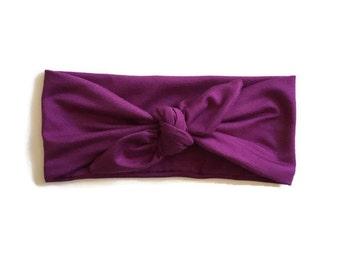 Plum Purple Top Knot Headband Headwrap Turban| Baby Girl Toddler Adult