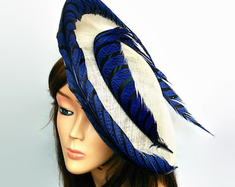 Cream and royal blue hat,Kentucky derby hat,Electric blue ascot hat,Cream saucer hat,Royal blue fascinator,Feathers dress hat,Horse race hat