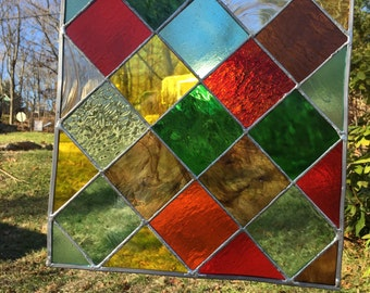 Stained Glass Autumnal Inspired - Red, Green, Brown, Yellow - Panel