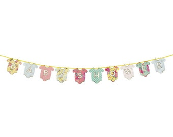 DOUBLE SIDED Baby Shower/Hello Baby Garland, Baby Shower Banner, Hello Baby Banner Garland, Vintage,