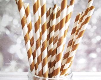 BROWN WHITE STRIPE, 25 Paper Straws With Chocolate Brown & White Stripes