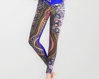 Royal Blue African Dashiki Print Leggings Brown Black Yellow Royal Blue Pattern Magenta Womens Print Legging Polyester Spandex Antimicrobial