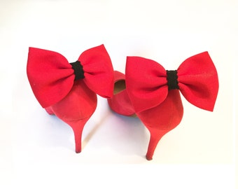 Shoe clips, red and black nodes, Accessories Shoes