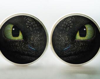 Dragon Eye Stud Earrings (Silver or Bronze) dragon's eye earring Image under glass!