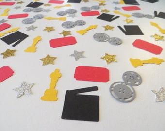 Movie Night Confetti - Set of 180 - Handmade - Award Ceremony - Stars, Statue, Director's Movie Clapper, Movie Reels