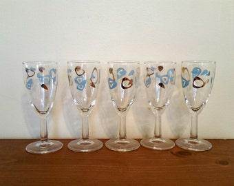 Atomic Amoeba Boomerang Sherry Glasses Wine Glasses Turquoise and Gold Mid Century Vintage Barware 1960s