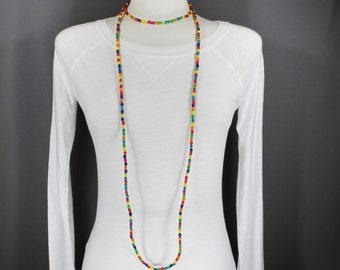 "Multi color wood bead super extra long beaded necklace 64"" long double triple wrap strand"