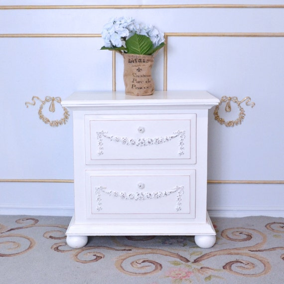 shabby cottage chic single white 2 drawer nightstand roses. Black Bedroom Furniture Sets. Home Design Ideas