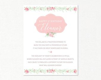 Doljabi Explanation Poster Board - eucalyptus garland - Korean First Birthday - custom digital printable