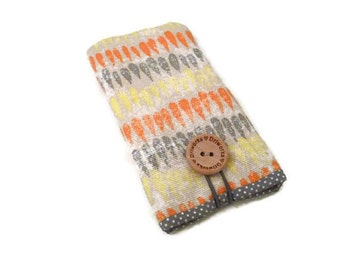iPhone 6 case / iPhone 7 Plus Pouch / Iphone 5 Sleeve / iPhone 6 Plus Case / iPhone SE Cover / iphone 7 pouch / yellow orange grey fabric