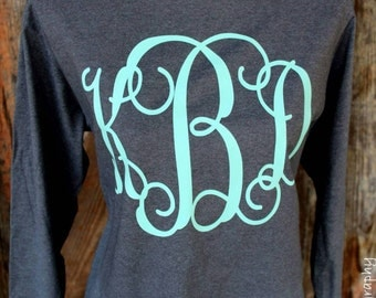 Oversized Large Monogrammed Long/Short Sleeve Tee