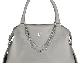 Leather Top Handle Bag, Grey Leather Handbag Top Handle, Women's Leather Bag KF-255