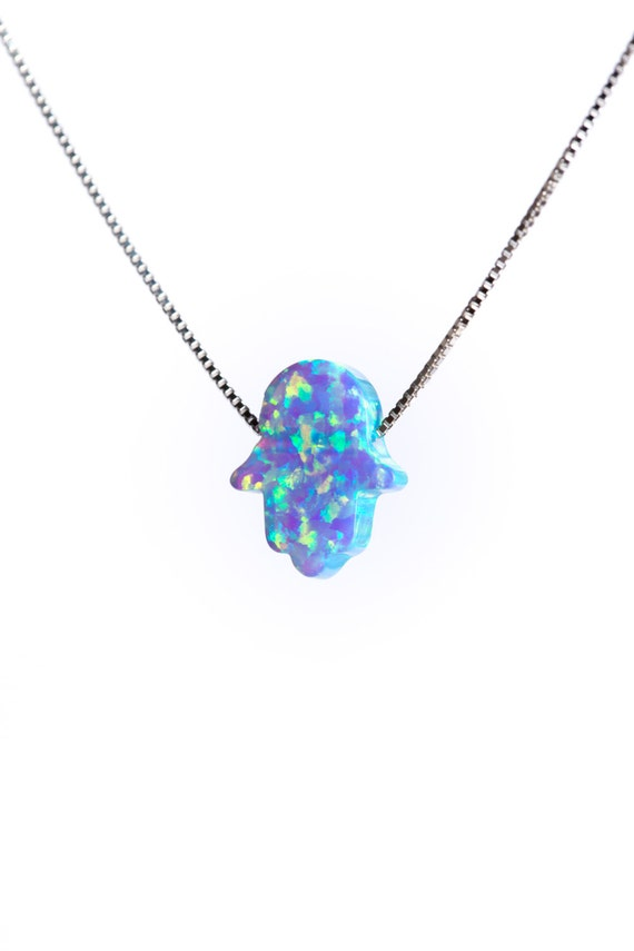 Hamsa Opal Necklace Dainty 925 Silver Necklace Pendant Evil Eye Handmade Free UK delivery + Gift Box + Gift Bag