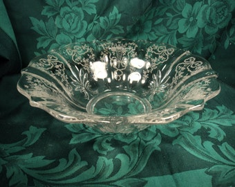 Fostoria Etched Glass Centerpiece Bowl, Bows and Flowers, Fruit Bowl, Wedding Decor