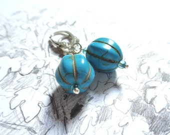925 sterling silver dangle earrings gemstone turquoise glass beads