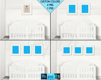 Nursery Interior #N26 Set of White Portrait 8x10 & Square 10x10 Matted Frames, White Baby Crib, 4 Rendered PNG scenes PSD PSE, Custom colors