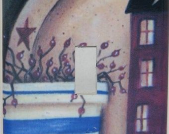 Primitive Country Red Salt Box House Pottery Single switch plate light cover