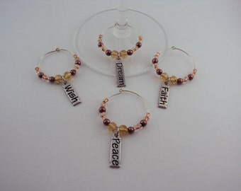 Shades of Amber Wine Glass Charms