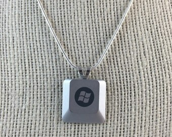 Light Techie Computer Key Pendant - Personalized Computer Key Necklace With Your Choice of Key