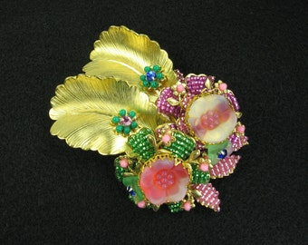 Stanley Hagler Brooch, Ian St. Gielar Brooch, Beaded Brooch, pink, green, gold tone