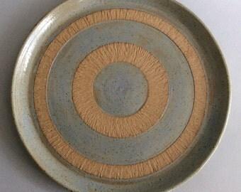 Large Stoneware Platter With Decorative Banding