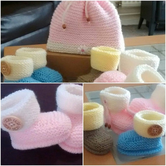 Baby Knitting Pattern Baby 0-12 mths approx Ugg inspired Booties and Hat