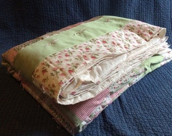 Handmade Pink and Green Rose Quilt/Bedspread