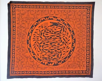 Sacred painting from the Shipibo tribe of Perú - SNAKE