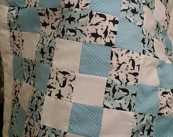 Handmade Penguins patchwork blanket