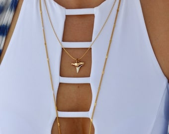 Gold Dipped Shark Tooth Necklace