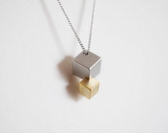 Geometric long silver necklace, Cube Necklace, geometric modern necklace, Gift for her
