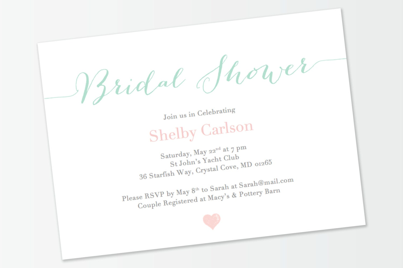 Mint And Blush Lux Bridal Shower Invitation Printable DIY