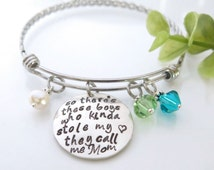 So There's These Boys Who Stole My Heart, They Call Me Mom - Adjustable Bangle Bracelet for Mom from Son - Expandable Bracelet - FREE SHIP