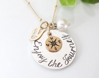 Enjoy The Journey Necklace - Compass Necklace - Sterling Silver - Personalized Retirement Gift for Her - Graduation Gift for Her - Free Ship