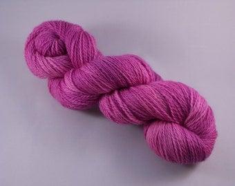 Hand dyed Merino Superwash yarn, sock weight, 100g, semi-solid, MAGENTA