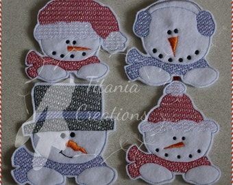 Set of Four Snowman Ornaments Machine Embroidery Design Pattern 4x4 In The Hoop by Titania Creations. Instant Download