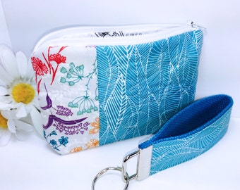 Teal Floral Zipper Pouch and Wristlet Key Fob Set Quilted Zipped Bag Fabric Wristlet Keyring Bridesmaid Gift Teacher Gift