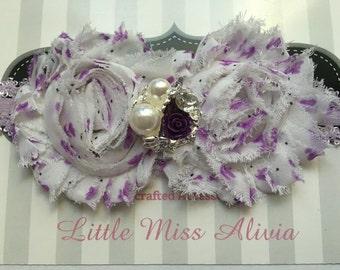 SUMMER SALE - Purple Flower Shabby Flower Headband - Babies - Toddlers - Headbands - Lace Elastic