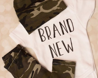 Brand New Coming home outfit; boys camo outfit
