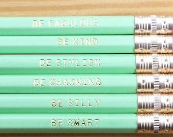 Gentle Reminder Pencils. Set of 6. Mint Green.Pastel Green. Cute Pencils. Gifts for Her. Stocking Stuffers. USA Made.Inspirational.