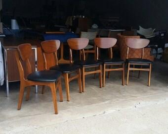 Vintage 1960's Dining Chairs Mid Century Danish Modern Victor Garrison Sculptural Frames Original Black Vinyl MCM