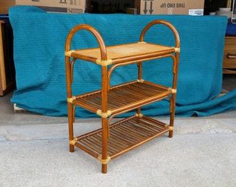 Vintage 1960's Rattan Bookshelf Woven Cane Upper Tier Mid Century Modern Molded Bamboo Albini Style Original Condition MCM
