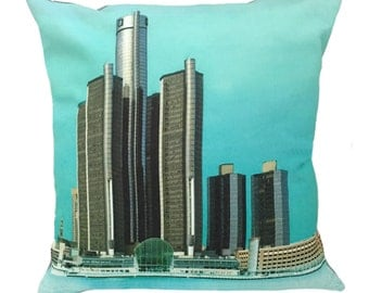 Detroit River Front North End View Pillow Cover With Insert