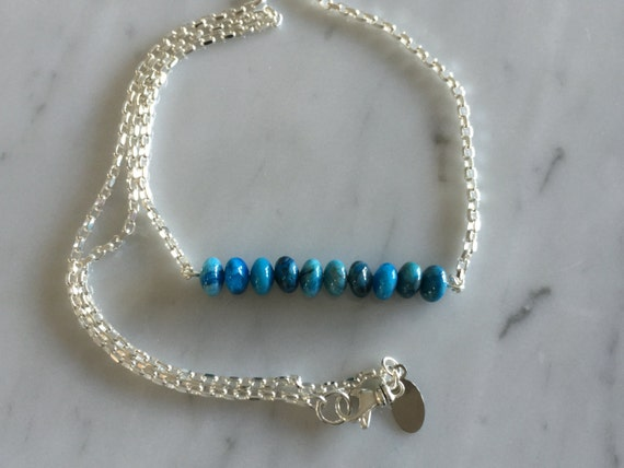 Blue Crazy Lace Agate Gemstone Bar Necklace, Sterling Silver