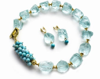 """Necklace with aqua-quartz, turquoise and a larimar """"THROATS of the COOL"""""""