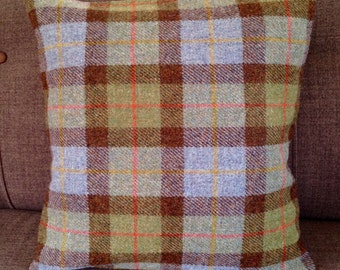 "18"" Blue/Green Checked Harris Tweed Cushion"